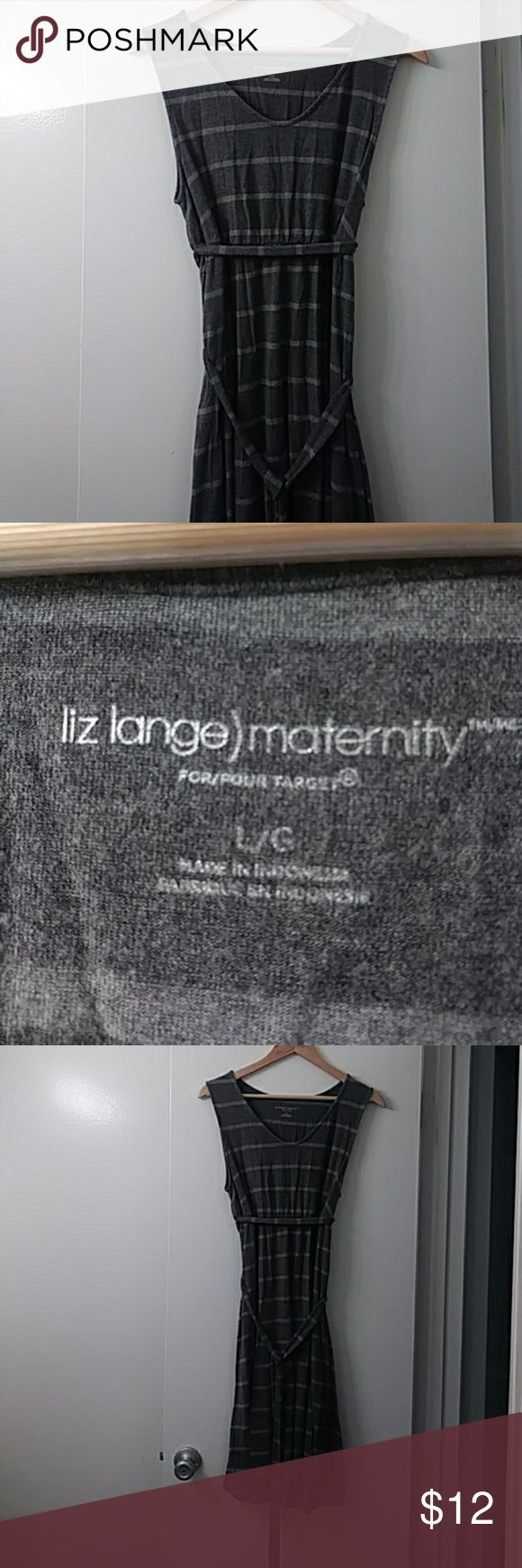 2 tone grey striped maternity dress. Super soft Liz Lange for Target maternity dress. Stripped with dark and light gray. So soft and comfortable! Has been in the dryer but still looks pretty good Liz Lange for Target Dresses Midi