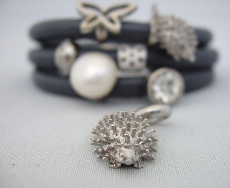 Porcupine Stainless Steel Charm 12.5x16x7mm Slide into Italian Leather Wrap Bracelet Funky Mode Trendy by Energy Stone Jewelry (sku#510) by EnergyStoneDotCom on Etsy