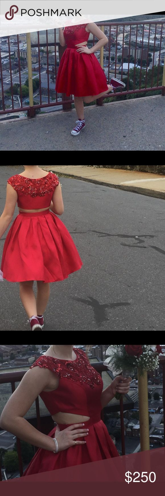 Red Sherri Hill homecoming dress Red sherri hill homecoming dress. Looks like a two piece from the back but attached in the front. Only worn once for a couple of hours and is in great condition!!! Sherri Hill Dresses Prom