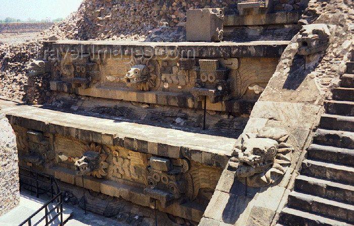 Mexico - Teotihuacan (Edomex / Estado de México): Quetzalcoatl temple - plumed serpents - Citadel / templo de Quetzalcoatl - Tlaloc, dios de la lluvia - Ciudadela - Unesco world heritage site