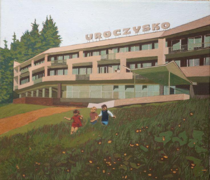 """Agnieszka Gąsiorowska-Żaba, Wisła - dom wczasowy """"Uroczysko"""", 46x41cm, tempera jajowa na płótnie, 2013 r."""