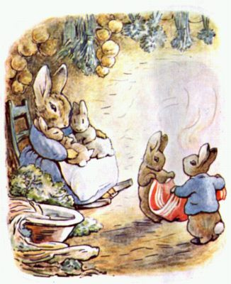 """When Peter got home his mother forgave him, because she was so glad to see that he had found his shoes and coat. Cotton-tail and Peter folded up the pocket-handkerchief, and old Mrs. Rabbit strung up the onions and hung them from the kitchen ceiling, with the bunches of herbs and the rabbit-tobacco."" -- from ""The Tale of Benjamin Bunny"" by Beatrix Potter, 1904. (Entire eBook, with all illustrations, @ http://en.wikisource.org/wiki/The_Tale_of_Benjamin_Bunny )"