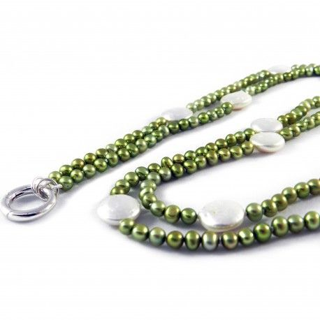 Green Gerbera, pearl necklace. Gerbera-series necklace with green and white freshwater pearls. The round 925 sterling silver lock can be used to attach a key card or pendant. Length 100 cm.