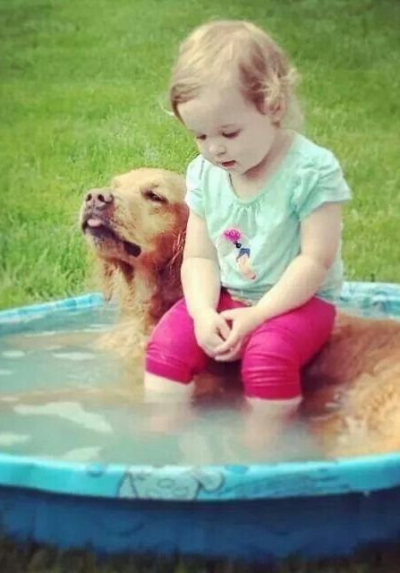 Best friends, little girl and her dog