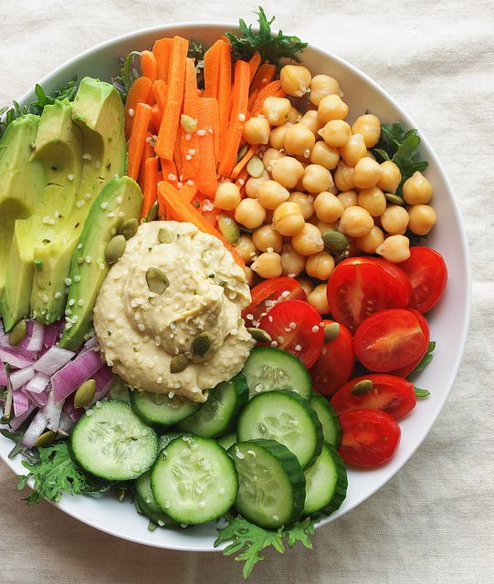 Make this totally raw by using sprouted chickpeas & a raw hummus... EVERYDAY NOURISH BOWL by Julie West | The Simple Veganista, via Flickr