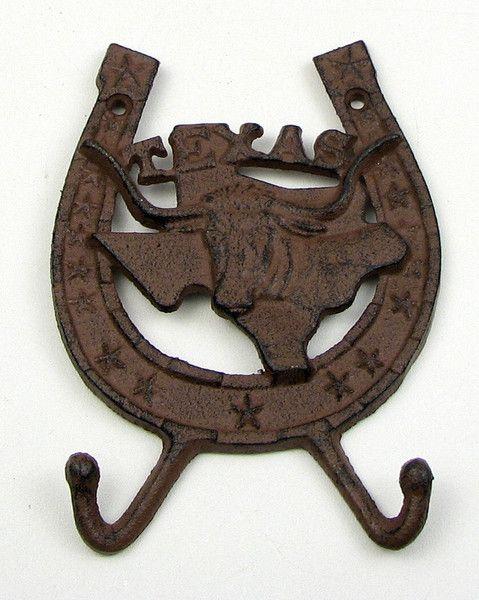 Cast Iron Texas Horseshoe Steer Hook