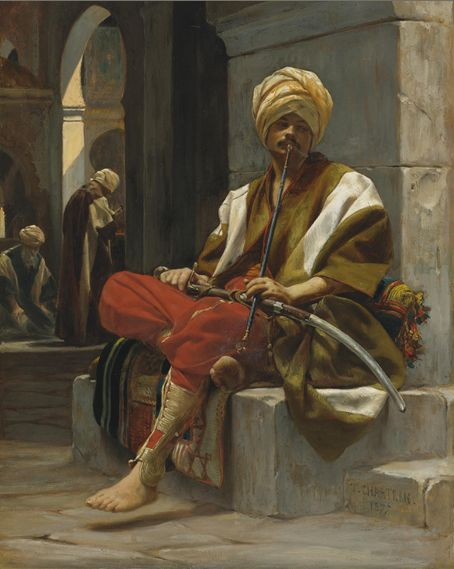 Théobald Chartan, The Chibouk Smoker, oil on panel. Théobald Chartran (20 July 1849–16 July 1907) was a classical French painter.