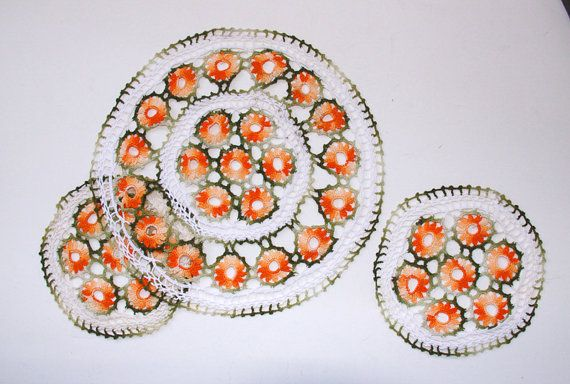 Vintage Crochet Doilies 3 Handmade White Orange by LadyLyBoutique, $12.00