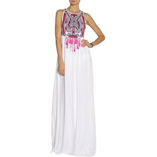 WithChic White Tribe Print BOHO Style Sleeveless Maxi Dress (370 ZAR) ❤ liked on Polyvore featuring dresses, sleeve maxi dress, white sleeveless dress, halter dress, tribal print dress and empire maxi dress