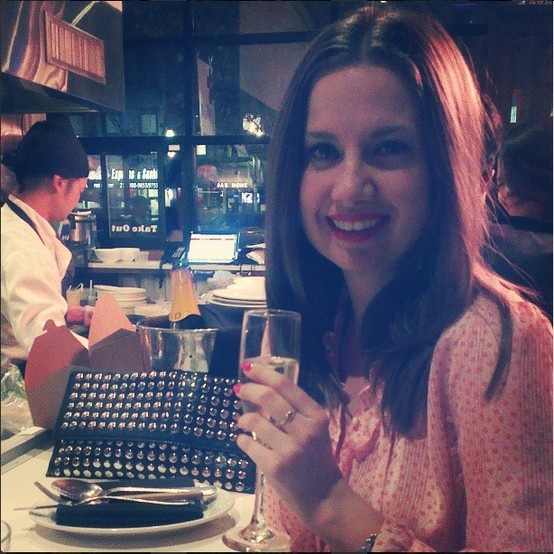 Our black studded clutch is making its way around the world! Here it is in New York with the fabulous Lady Mebourne.