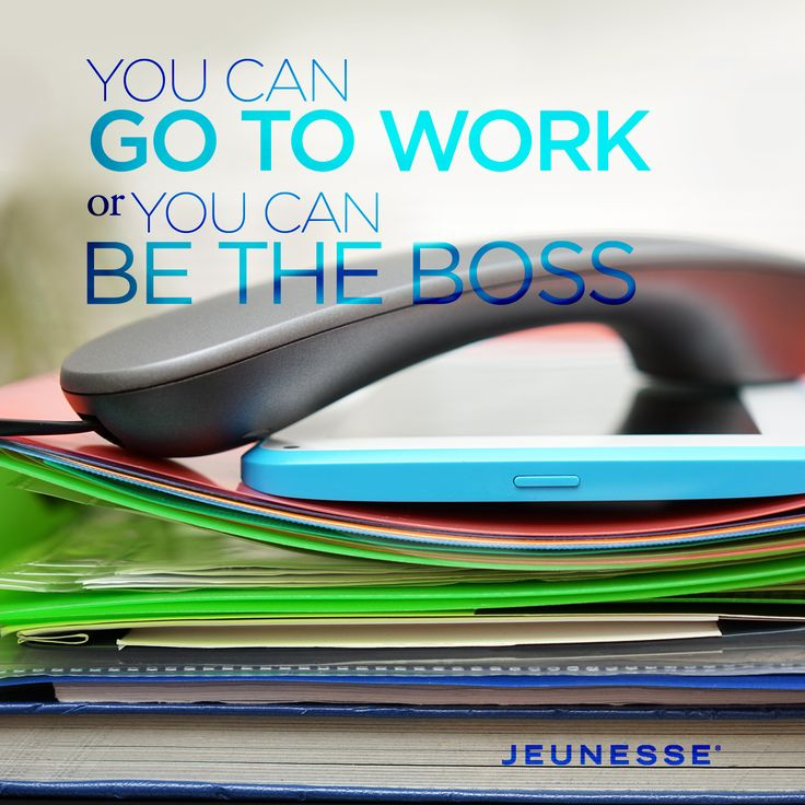 You can go to work or you can be the boss.  -Unknown