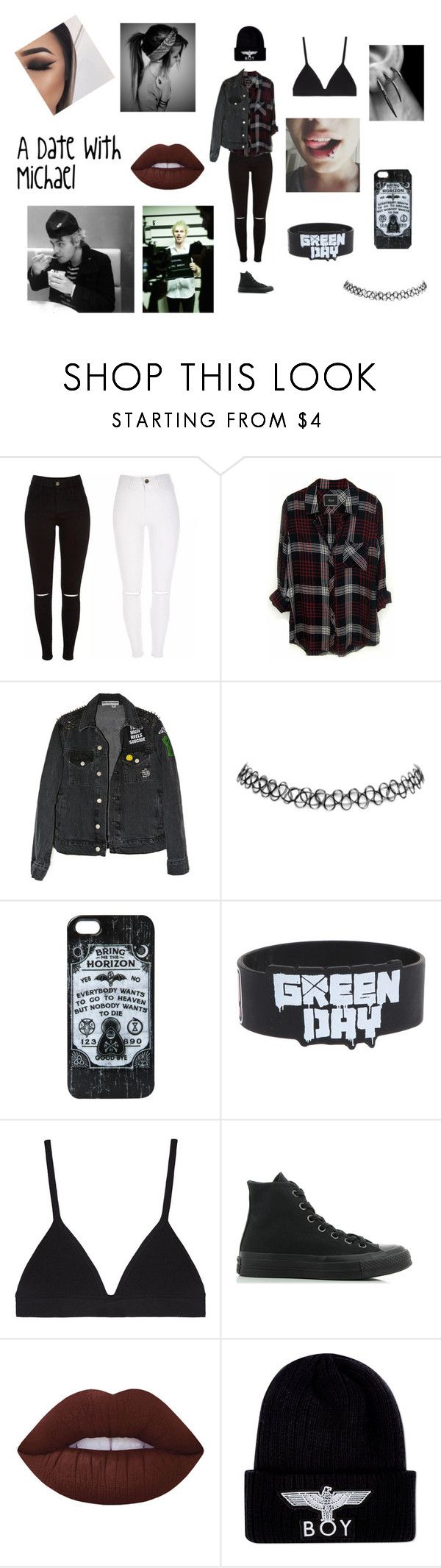 """""""First Date With Michael"""" by tomlinsons-unicorn18 ❤ liked on Polyvore featuring Rails, Wet Seal, Proenza Schouler, Converse, Lime Crime and BOY London"""