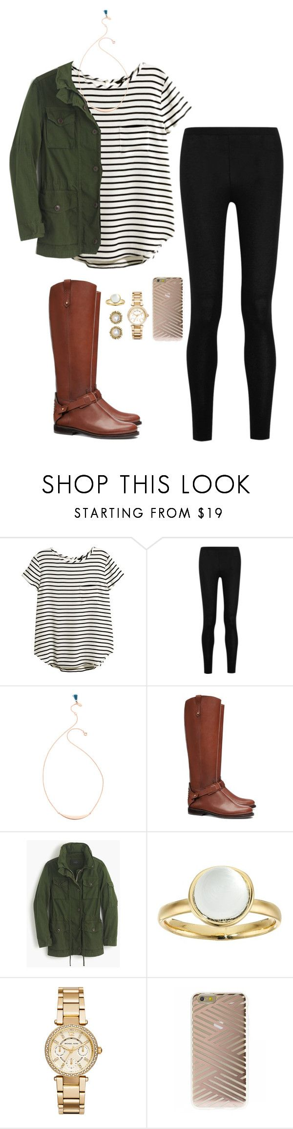 """""""Dress down days are my favorite days."""" by lillynelsonn ❤ liked on Polyvore featuring H&M, Donna Karan, Shashi, Tory Burch, J.Crew, Alexis Bittar, Michael Kors, Sonix, Kendra Scott and women's clothing"""
