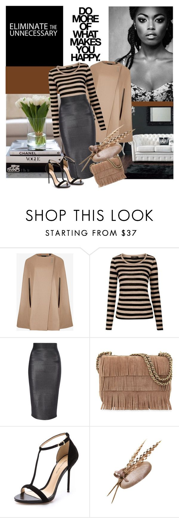 """Do More Of What Makes You Happy"" by marina-volaric ❤ liked on Polyvore featuring Ted Baker, Weekend Max Mara, Jane Norman, Tory Burch, Alexandre Birman, nude, cape, MaxMara and fringedbag"