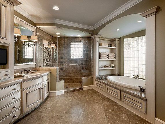 Spacious master bathroom with lots of storage. #master #bathrooms homechanneltv.com