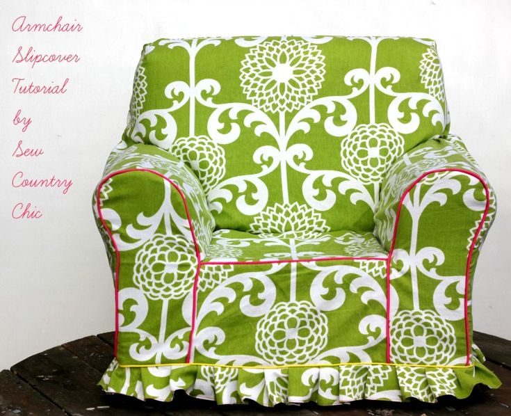 Armchair Slipcover Tutorial: #Waverize  -  try to find a cerise fabric.  if not, use this green and pipe it in teal and cerise to tie colors together