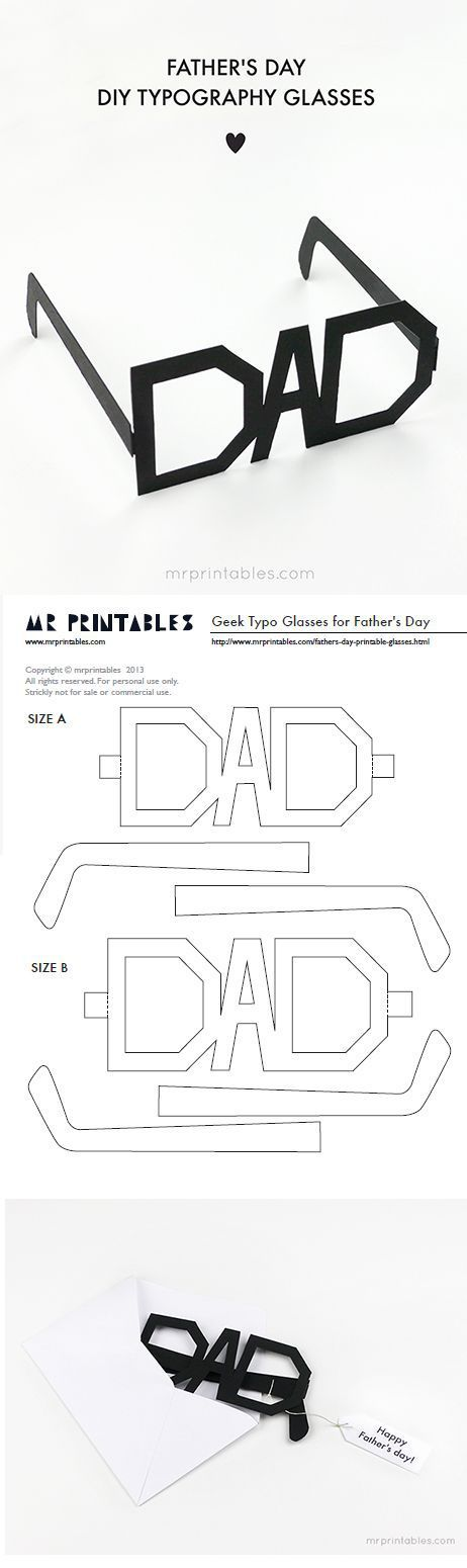 Fathers Day Cards FREE Printables - DIY Typography Glasses DIY Paper Craft via Mr Printables - Print them in whatever color you want