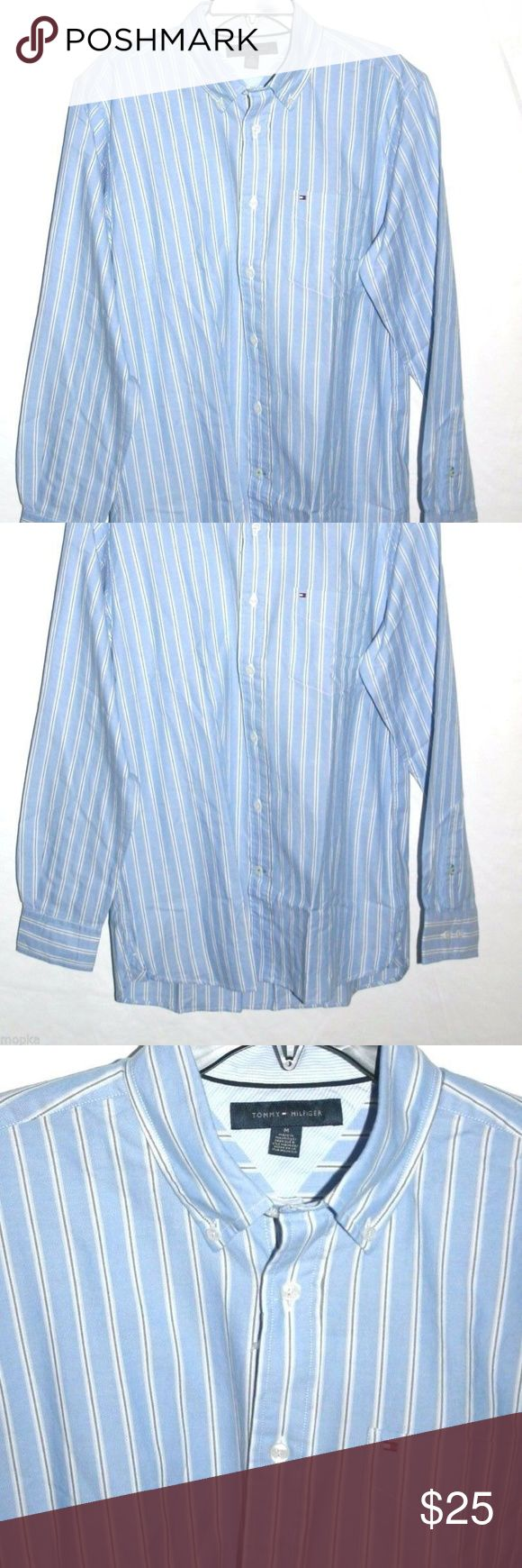 """Tommy Hilfiger Oxford Shirt Sz. M Blue Stripe new Sz. medium  NWT  Blue, navy and white stripe Oxford shirt, Tommy flag on embroidered on the chest pocket.  Outlet price $49.99 (tag attached)  Pit-to-pit 23"""" blue/white color Oxford material 100% cotton. Machine washable. Tommy Hilfiger Shirts Casual Button Down Shirts"""