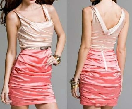 Fab Silk Express Ruched Blush Coral Colorblock Spring Vegas Party Dress XS s$128 | eBay