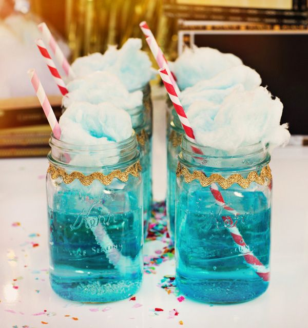 Blue Sprite in Mason Jars topped with Fluffy Cotton Candy...one one hand that sounds disgusting but it also sounds amazing. id drink it.