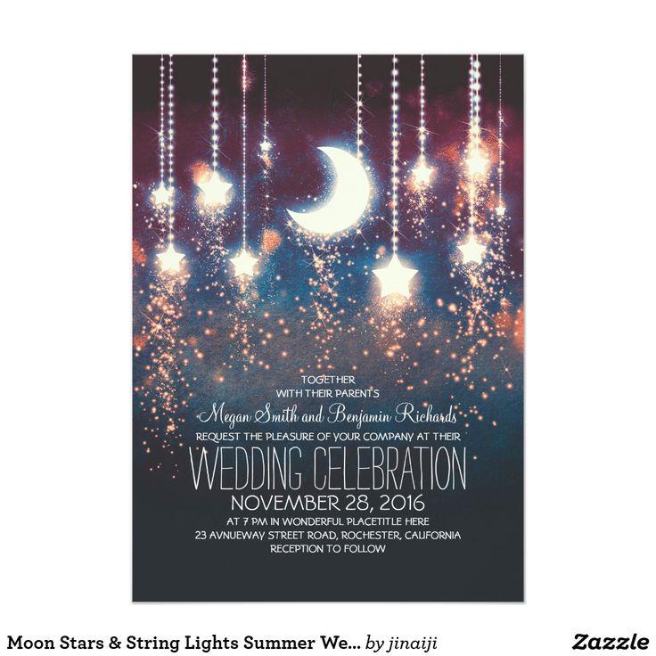 sapphire wedding anniversary invitations%0A Moon Stars  u     String Lights Summer Wedding Card
