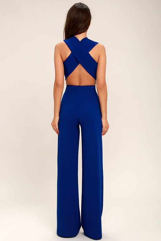 thinking out loud royal blue backless jumpsuit
