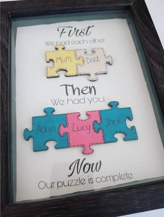 Puzzle piece family frame, jigsaw picture frame, my family gift ...