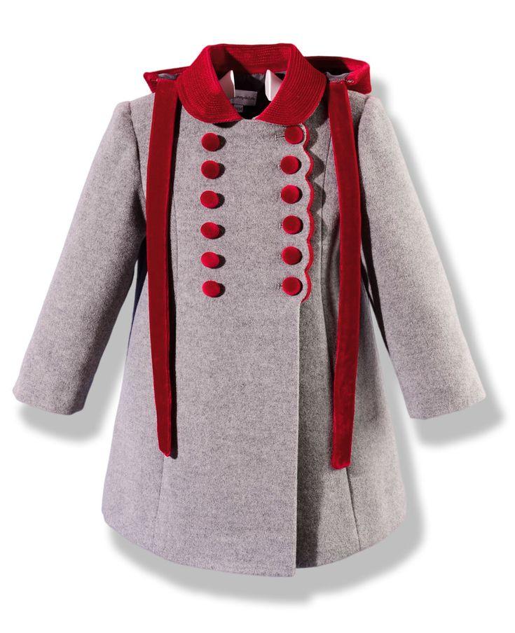 Abrigo de niña gris y rojo