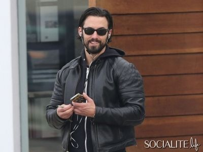 Milo Ventimiglia & His Beard Hop On His Motorcycle After A Day Of Shopping