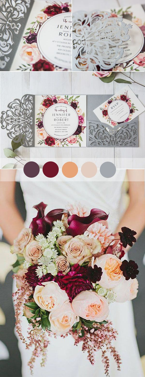 romantic rustic floral laser cut grey and burgundy wedding invitaitons