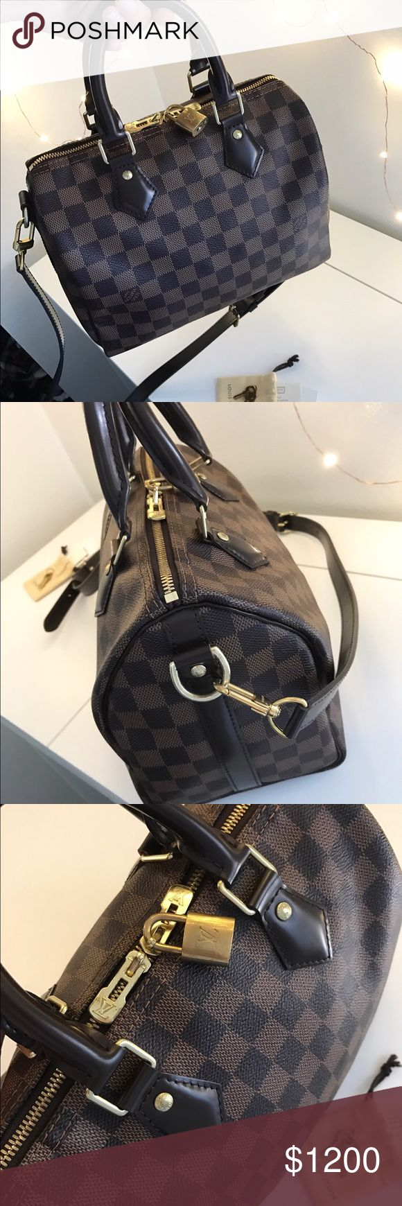 ✨Louis Vuitton Speedy 25 Bandouliere✨ 🔸LV Speedy 25 in Damien Ebene Canvas with the strap. 🔺Great Condition!🔺Has barely been taken out, as I was too protective of this baby✨ 🔹Comes with the keys and authenticity card, as well as a dust bag 💼 (Not LV dust bag) 📧Feel free to email me for extra pictures/questions🅿️📩✅ youngteemo@gmail.com NO TRADES Louis Vuitton Bags Satchels