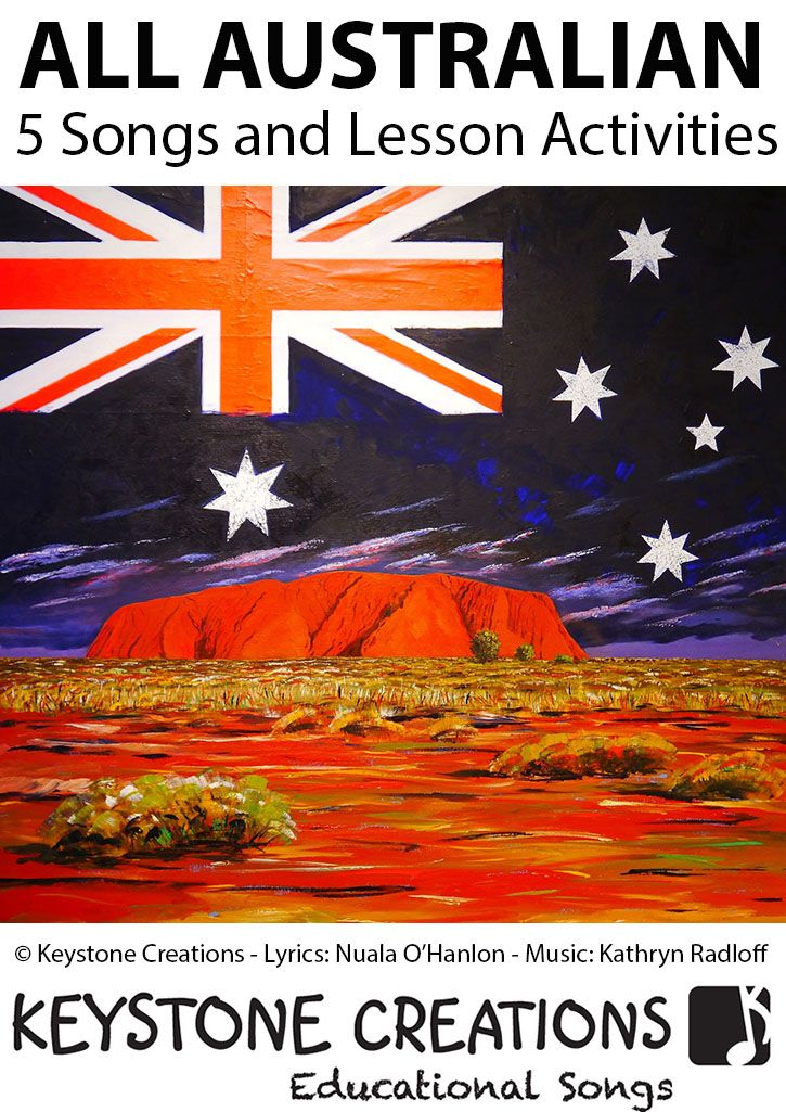 This package contains 5 Australian-specific, curriculum-based songs, that cover Australia, itself, the Gold Rush, key people and events leading up to Australian Democracy, the government's 9 values for Australian schools, and the Australian version of our 'Healthy Kids' song. DOWNLOADABLE AT: http://www.teachinabox.com.au/iteminfo.aspx?itemid=2668#productInfo