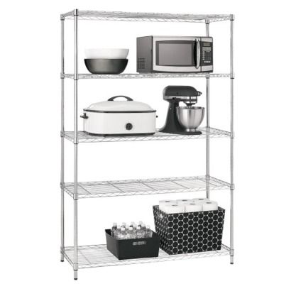 Prospace Chrome 5 tier wide shelving unit   Target - I use these in our basement & garage to keep clutter/storage items organized (also see 12444591-5 tier unit)