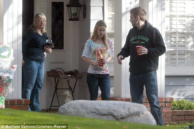 Support: Paul Walker's brother, Cody Walker with his blonde wife Stephanie Walker pay a visit to mother Cheryl
