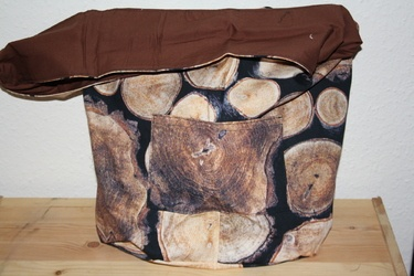 Hippie Tasche in Holzoptik handgenäht Einzelstück