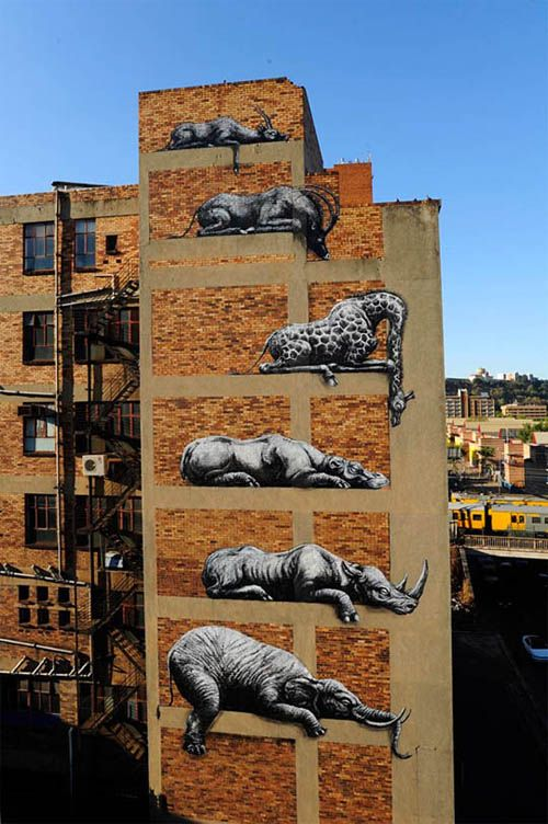 """""""Belgian street artist ROA was recently in Johannesburg to work on an epic new mural depicting six enormous African animals resting on the side of a building. Photos by Martha Cooper."""""""