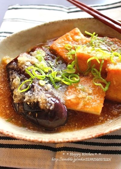 厚揚げと茄子の揚げ出し豆腐風おろしあんかけ   たっきーママ オフィシャルブログ「たっきーママ@happy kitchen」Powered by Ameba