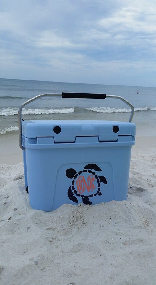 Check out this super cute Sea Turtle monogram that we did here in the store on a Yeti Roadie! This customer definitely has the cutest cooler on the beach this summer! #mysouthernsisters