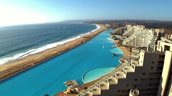The San Alfonso Del Mar Resort in Algarrobo, Chile, has the largest pool on the planet, covering 20 acres.