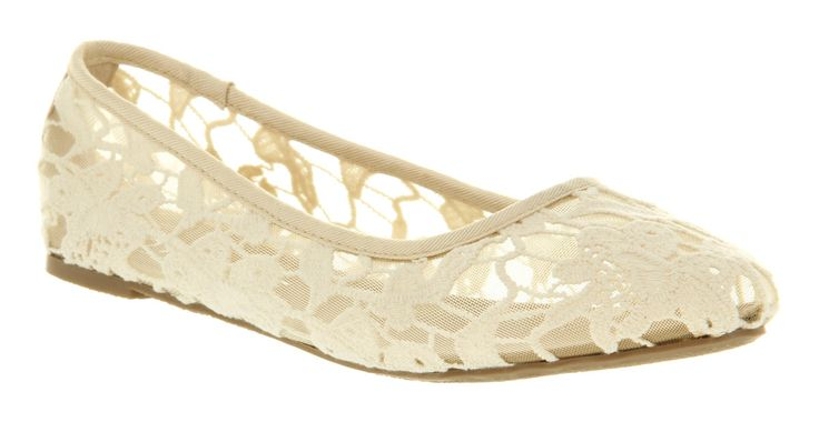 Womens Office Macaroon Pump Off White Cream Lace Flats