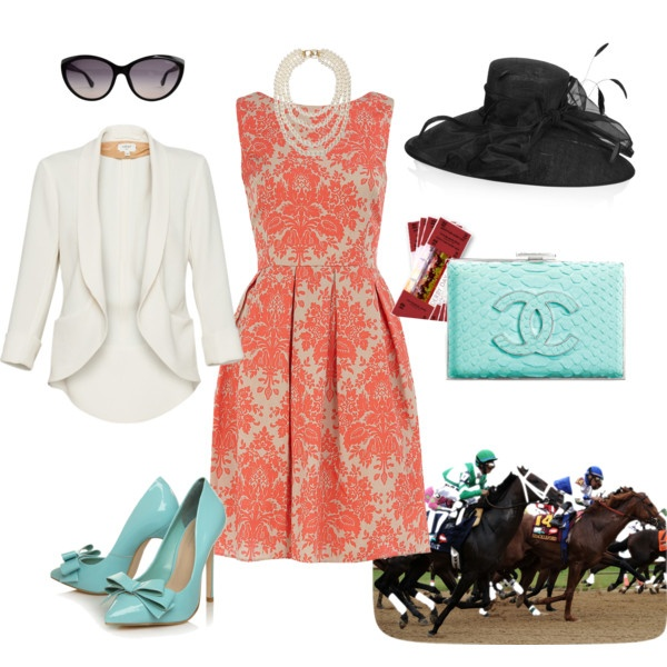 No to the black hat...doesn't coordinate.  Try white Derby hat from HAT-A-TUDE trimmed out with an aqua flower for accent!