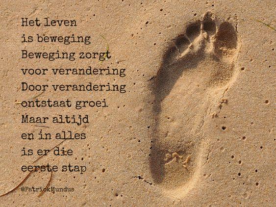 Het leven is beweging. Beweging zorgt voor verandering. Door verandering ontstaat groei. Maar altijd en in alles  is er die eerste stap...