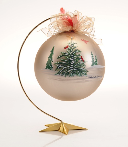 """Hand painted Christmas heirloom, 7"""" in diameter, brass stand is 12"""" tall, Swarovski Crystals at the top of tree and at the center of each delicate snowflake scatter around the orb. 4.25 """", 6"""" and 7"""" available in many designs. http://mickeybaxterspade.com/christmas-ornaments/"""