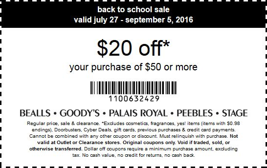 Pinned August 20th: $20 off $50 at Goodys Palais Royal Peebles #Bealls & Stage stores #TheCouponsApp