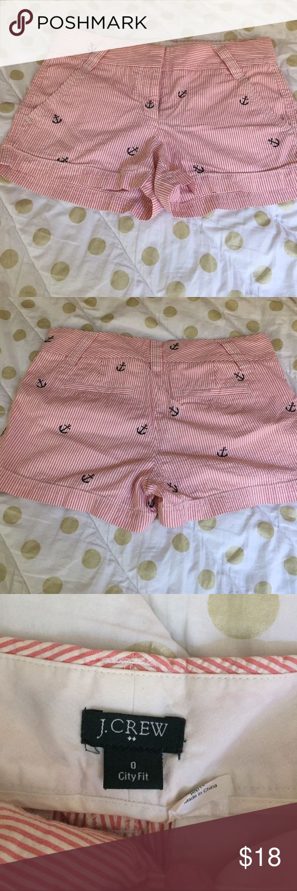 Jcrew embroidered anchor shorts Cute J.Crew red and white striped (navy) lobster embroidered shorts. Great used condition. J. Crew Shorts
