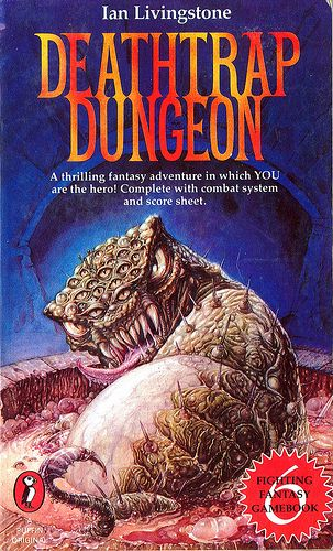 Fighting Fantasy 6: Deathtrap Dungeon by Ian Livingstone. Puffin Books 1984. Cover artist Iain McCaig | Flickr - Photo Sharing!