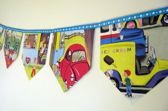 Cars and Trucks Storybook Paper Bunting by MagpieSailor on Etsy