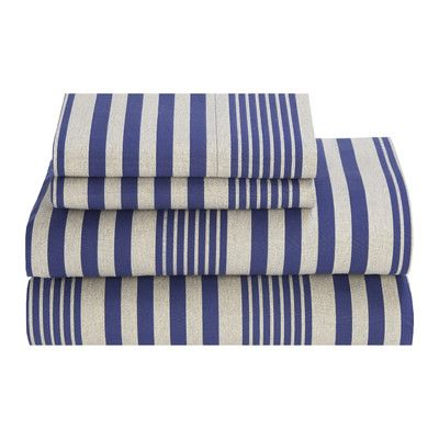 Tommy Hilfiger Seaport Stripe 180 Thread Count Sheet Set & Reviews | Wayfair