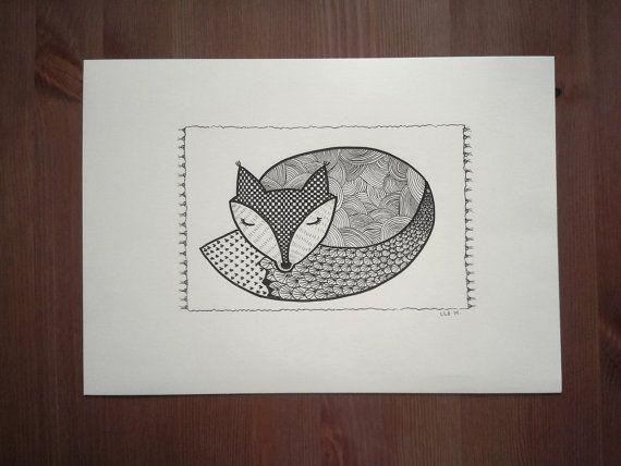 Sleeping fox drawing black pen by CreativChallenge on Etsy, kr200.00