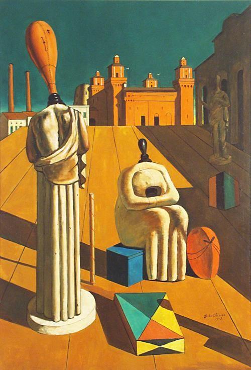 Giorgio de Chirico (Italian 1888-1978)  The Disquieting Muses, 1947 Image: 38 1/2 x 26 1/8 in (97.8 x 66.4 cm); UIMA  University of Iowa Museum of Art